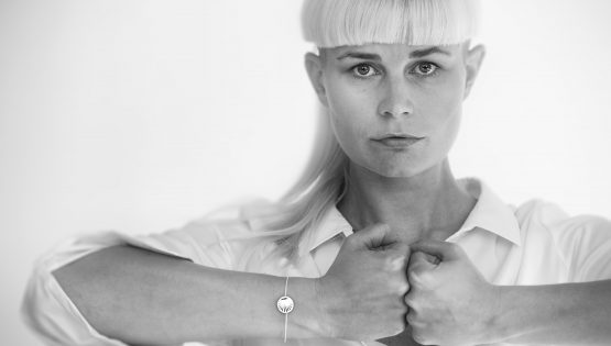 Danish jewellery designer Sanne Nordahn makes bracelet